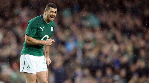 A happy Rob Kearney as the final whistle blows. Photograph: Colm O'Neill/Inpho