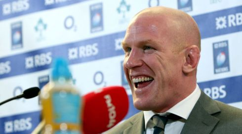 A jubilant Paul O'Connell at the RBS Six Nations Championship post match press conference. Photograph: Colm O'Neill/Inpho