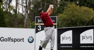 South Africa's Justin Walters a hits his tee shot on the third hole during the third round of the Joburg Open at Royal Johannesburg and Kensington Golf Club. Photograph: Dean Mouhtaropoulos/Getty Images