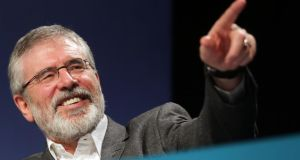 Sinn Fein president Gerry Adams said the party was now a major player in both states on the island and would be running 350 candidates in the forthcoming local and European elections. Photograph: Paul Faith/PA Wire