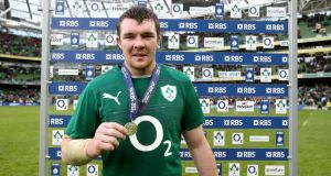 Ireland's Peter O'Mahony receives the man of the match award. Photograph: Dan Sheridan/Inpho
