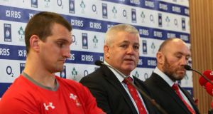 Wales captain Sam Warburton and head coach Warren Gatland face the music. Photograph: Colm O'Neill/Inpho