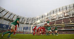 Rory Best finds Devin Toner in Saturday's game at the Aviva Stadium. Photograph: Michael Steele/Getty Images