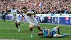 France's Hugo Bonneval scores a debut try against Italy. Photograph: Cathal Noonan/Inpho