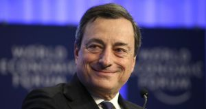 "The ECB rescued the European project by dint of one little phrase – Mario Draghi's promise to do ""whatever it takes"" to save the euro. Photograph: Chris Ratcliffe/Bloomberg"
