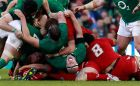 Ireland's Paul O'Connell (bottom, C) reacts the Six Nations match against Wales. Photograph: Cathal McNaughton/Reuters