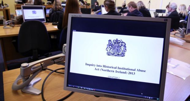 A screen at the independent Historical Institutional Abuse (HIA) Inquiry in Banbridge, Co Down. Photograph: Paul Faith/PA Wire