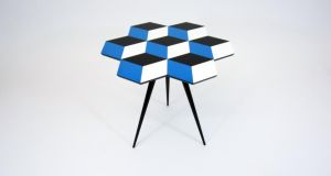 THREE OF THE BEST . . . GEOMETRY CLASS Rock with geometric patterns in an accent piece like this Rockman and Rockman side table, 47cm by 52 cm, in either blue, black and white (below), or three shades of green. Made of cast acrylic geometric parquetry bonded onto a wood fibreboard top, with oak tapered legs, the made-to-order table costs about €782 through London-based Nest (0044-114 2433000, nest.co.uk). Delivery from €38.50.