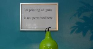 Due to the large number of requests for 3D printing of guns, the Rathmines shop had to put up this sign. Photograph: Brenda Fitzsimons