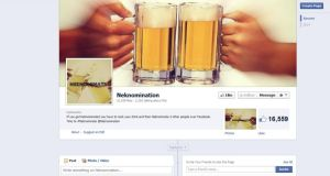 Facebook screengrab of a page promoting the Neknomination drinking game.