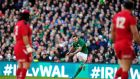 Jonathan Sexton kicks a penalty during Ireland's Six Nations victory over Wales at the Aviva on Saturday. The outhalf pointed out some key moments that were central to the result going in Ireland's favour. Photograph: Aidan Crawley/EPA