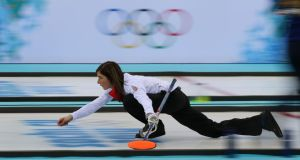 Great Britain's Skip Eve Muirhead in action during their Curling Round Robin match against Sweden at  the Ice Cube Curling Centre. Pihotograph: Andrew Milligan/PA Wire.