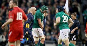 Dan Tuohy leaves the field after breaking his forearm after coming on for Paul O'Connell on Saturday. Photograph: Dan Sheridan/Inpho