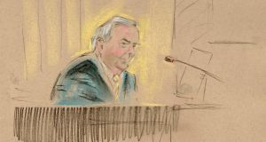 Seán Quinn giving evidence at the Anglo trial yesterday.  Drawing: Alwyn Gillespie