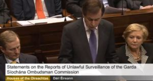 Minister for Justice Alan Shatter addressing the Dáil this evening.