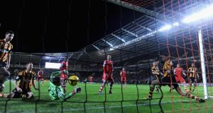 Hull City goalkeeper Stephen Harper fails to stop Jose Fonte of Southampton scoring the winning goal at KC Stadium. Photograph:  Gareth Copley/Getty Images