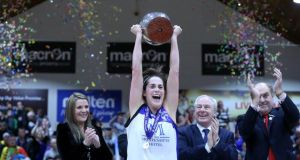 Montenotte Hotel Cork captain Gráinne Dwyer after leading her side to victory in the National Cup final against UL Huskies at the   National Basketball Arena, Tallaght, in January. Photograph: Inpho