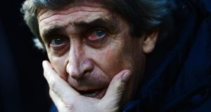 Manchester City manager Manuel Pellegrini. Photograph:  Jamie McDonald/Getty Images