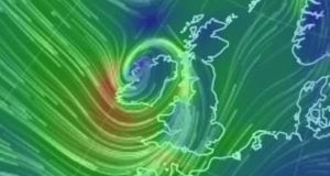 A wind map showing the direction and force of winds over Ireland. Photograph:  earthnullschool.net