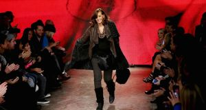 Donna Karen closing her show at New York fashion week. Photograph: Getty Images