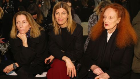 L-R) Fashion director at Vogue Tonne Goodman, fashion editor Virginia Smith, and Grace Coddington attend  Marc By Marc Jacobs at New York Fashion Week. Photograph: Getty Images