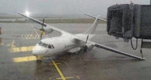Blown over plane at Shannon Airport today. Photograph: Comeragh