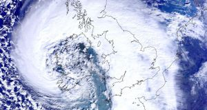 Handout satellite image issued that shows the scale of the storm. Photograph: NEODASS/University of Dundee/PA Wire