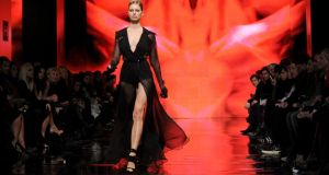 Model Karolina Kurkova walks the runway at the DKNY fashion show. Photograph: Diane Bondareff