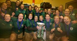 The Irish women's team celebrate their victory over Italy which clinched the Grand Slam in  Parabiago, Milan last year.  Photograph: Dan Sheridan/Inpho