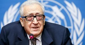 United Nations mediator Lakhdar Brahimi gives a press conference after negotiation between the Syrian government and the opposition in Geneva, Switzerland. Photograph: Salvatore Di Nolfi/EPA