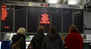 Rail travellers experienced delays and cancellations as seen here on the notice   board at Heuston station in Dublin. Photograph: Brenda Fitzsimons/The Irish Times