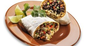 A black bean burrito on white pitta bread: it remains to be seen whether or not the Meatless Monday movement will catch on here. Photograph: Getty Images
