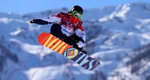 Snow business: Jenny Jones of Great Britain competings in the snowboard women's slopestyle at the Winter Olympics in Sochi. Photograph: Mike Egerton/PA