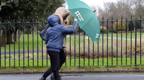 Walking in high winds at Ballsbridge in Dublin today. Photograph:  Eric Luke /The Irish Times