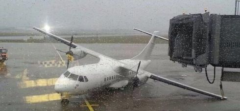 Plane blown over at Shannon airport. Photograph: Comeragh Photo