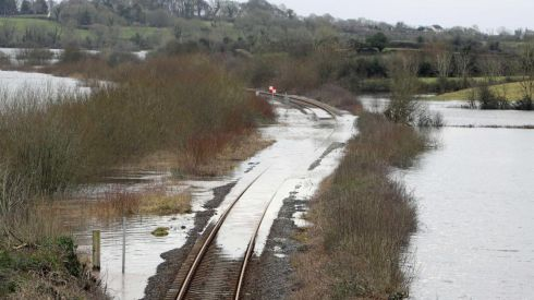 The rail line at Ballycar, Newmarket On Fergus, Co Clare on the Limerick to Ennis route is expected to remain closed for about six weeks because of flooding. Photograph: Picture Press 22.