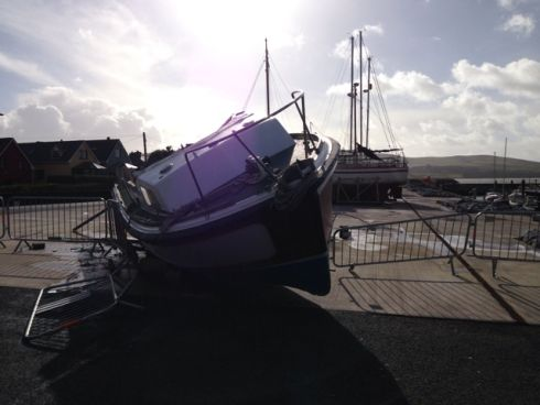 Boats in the Ventry Beach marina were knocked off their stands and damaged by yesterday's storm. Photograph: Chris Byrne @ventryweather