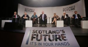 Scottish first minister Alex Salmond (fourth left) during a question-and-answer session on Scotland's Future in Bathgate, Scotland. Photograph: Danny Lawson/PA