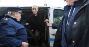 "Margaretta D'Arcy arriving at Ennis Court yesterday. The activist said ""what the State is doing is actually giving me a name and identity that is not mine"". Photograph by Eamon Ward"