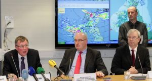 The Government's Emergency Coordination Committee's press briefing  on February 13th at the National Emergency Coordination Centre regarding the recent storms. Photograph: Mark Stedman/Photocall Ireland