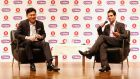 Viber Media chief executive Talmon Marco (right) speaks next to chairman and chief executive of e-commerce operator Rakuten Inc Hiroshi Mikitani during a news conference in Tokyo today. Photograph: Yuya Shino/Reuters