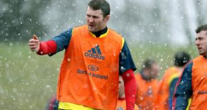 Donnacha Ryan in Munster training at  UL Limerick  during the week. Photograph: Dan Sheridan/Inpho