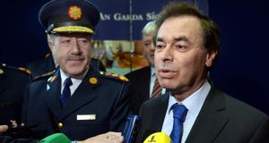 Garda Commissioner Martin Callinan with Minister for Justice and Equality Alan Shatter at Templemore Garda College during the 50th anniversary celebrations today. Photograph: Brenda Fitzsimons/The Irish Times