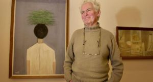 File photograph  of Patrick Scott in 2002 with some of his work at the Hugh Lane Gallery, Parnell Square, Dublin. Photograph: Dara Mac Dónaill/The Irish Times