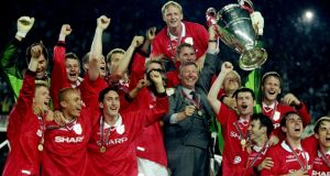 Alex Ferguson celebrates with his Manchester United players after winning the Champions League final against Bayern in Barcelona in 1999. It looks like David Moyes will have to emulate his predecessor and win the Champions League this year to earn a place in next years's edition. Photograph:  Phil Cole/Allsport
