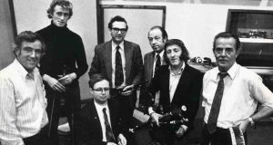 The Chieftains in September 1975. Sean Potts, Sean Keane, Michael Tubridy, Martin Fay, Paddy Moloney, Peadar Mercier and, seated in front, Derek Bell. Photograph: Dermot O'Shea/The Irish Times