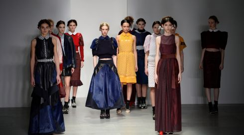 That girl lingering in the shadows looks a little left out. Bora Aksu show in Somerset House, London. Photograph: Facundo Arrizabalaga/EPA