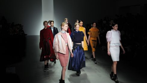 It's ok, they let her back into the unimpressed/disinterested model gang. Bora Aksu collection at London Fashion Week. Photograph: Facundo Arrizabalaga/EPA