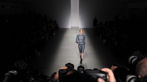 Arty pic on the Bora Aksu catwalk in Somerset House, London. Photograph: Facundo Arrizabalaga/EPA