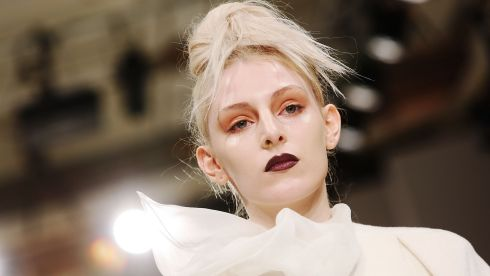 Perhaps one day we'll see a smile on the catwalk. Today, it seems, is not that day. Lulu Liu show at Freemasons Hall, London. Photograph: Tim P. Whitby/Getty Images